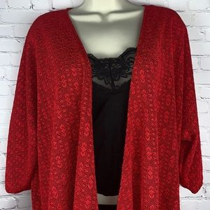 Red Lindsey Kimono textured lace print Plus Size